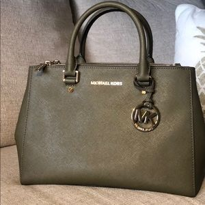 Michael Kors Large Leather Olive Green Purse